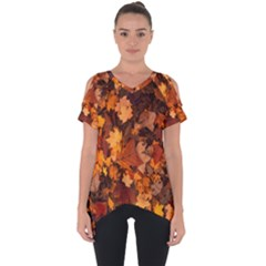 Fall Foliage Autumn Leaves October Cut Out Side Drop Tee