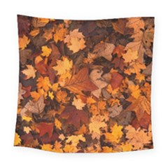 Fall Foliage Autumn Leaves October Square Tapestry (large)