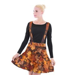 Fall Foliage Autumn Leaves October Suspender Skater Skirt