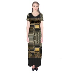 Board Digitization Circuits Short Sleeve Maxi Dress