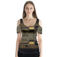 Board Digitization Circuits Butterfly Sleeve Cutout Tee