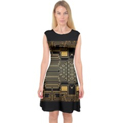Board Digitization Circuits Capsleeve Midi Dress