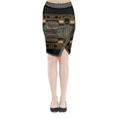 Board Digitization Circuits Midi Wrap Pencil Skirt