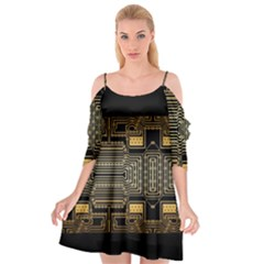 Board Digitization Circuits Cutout Spaghetti Strap Chiffon Dress