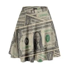 Dollar Currency Money Us Dollar High Waist Skirt by Nexatart
