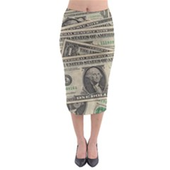 Dollar Currency Money Us Dollar Midi Pencil Skirt