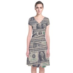 Dollar Currency Money Us Dollar Short Sleeve Front Wrap Dress