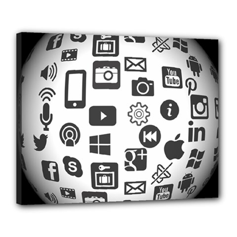 Icon Ball Logo Google Networking Canvas 20  X 16  by Nexatart