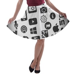 Icon Ball Logo Google Networking A Line Skater Skirt