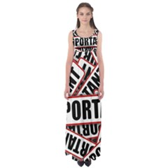 Important Stamp Imprint Empire Waist Maxi Dress