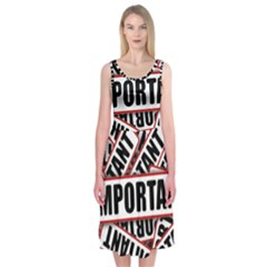 Important Stamp Imprint Midi Sleeveless Dress