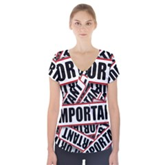 Important Stamp Imprint Short Sleeve Front Detail Top