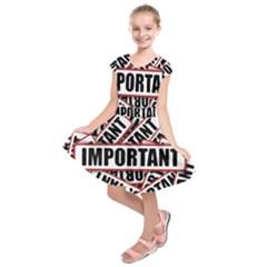 Important Stamp Imprint Kids  Short Sleeve Dress