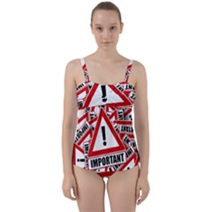 Important Stamp Imprint Twist Front Tankini Set