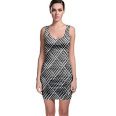 Grid Wire Mesh Stainless Rods Bodycon Dress