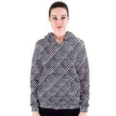 Grid Wire Mesh Stainless Rods Women s Zipper Hoodie