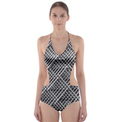 Grid Wire Mesh Stainless Rods Cut Out One Piece Swimsuit