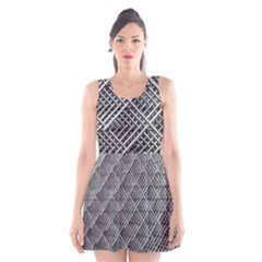 Grid Wire Mesh Stainless Rods Scoop Neck Skater Dress