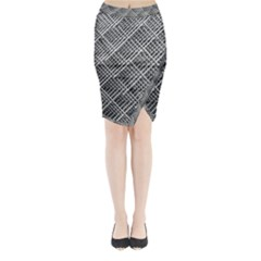 Grid Wire Mesh Stainless Rods Midi Wrap Pencil Skirt