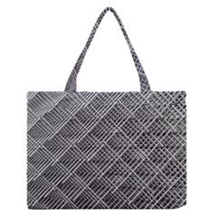 Grid Wire Mesh Stainless Rods Zipper Medium Tote Bag