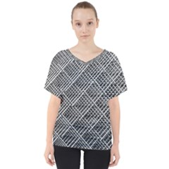 Grid Wire Mesh Stainless Rods V Neck Dolman Drape Top