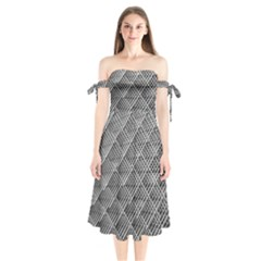 Grid Wire Mesh Stainless Rods Shoulder Tie Bardot Midi Dress