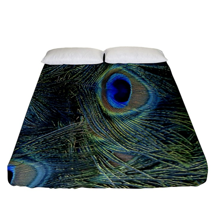 Peacock Feathers Blue Bird Nature Fitted Sheet (King Size)