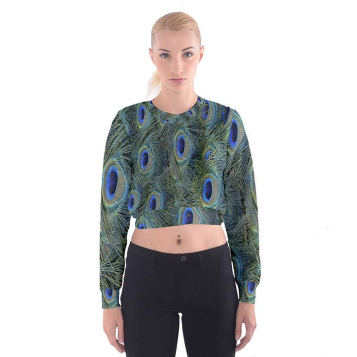 Peacock Feathers Blue Bird Nature Cropped Sweatshirt