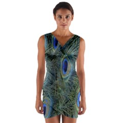 Peacock Feathers Blue Bird Nature Wrap Front Bodycon Dress