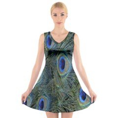 Peacock Feathers Blue Bird Nature V Neck Sleeveless Skater Dress