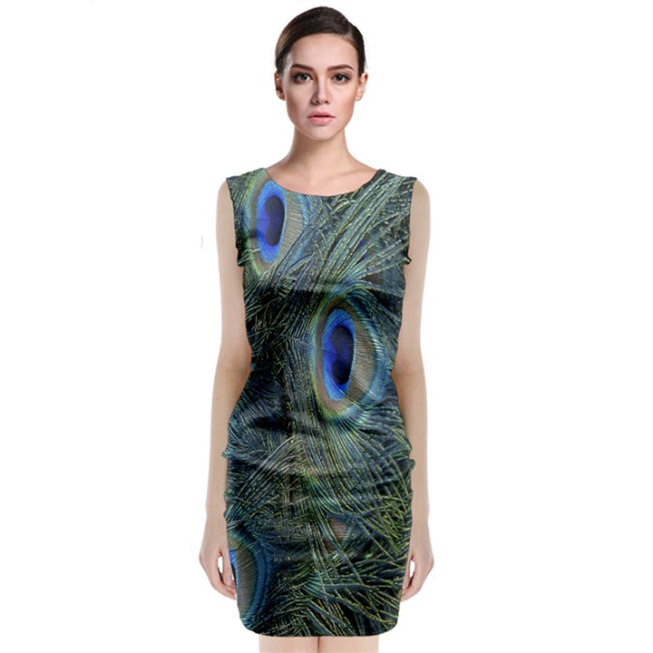 Peacock Feathers Blue Bird Nature Classic Sleeveless Midi Dress