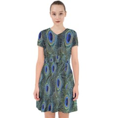 Peacock Feathers Blue Bird Nature Adorable In Chiffon Dress