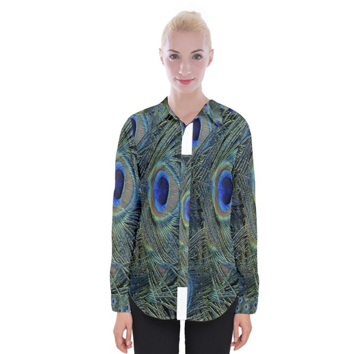 Peacock Feathers Blue Bird Nature Womens Long Sleeve Shirt