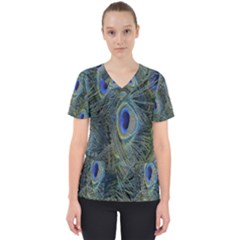 Peacock Feathers Blue Bird Nature Scrub Top