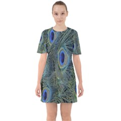Peacock Feathers Blue Bird Nature Sixties Short Sleeve Mini Dress