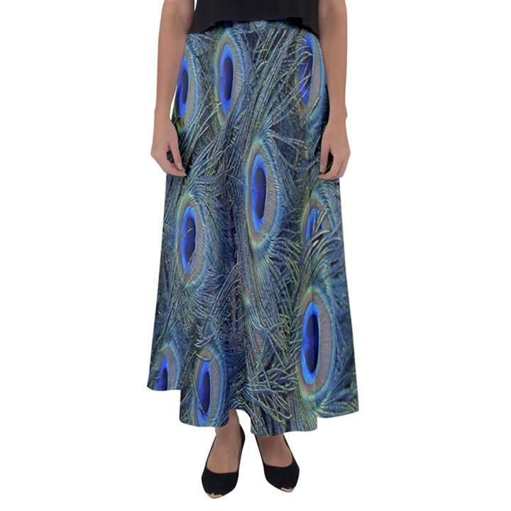 Peacock Feathers Blue Bird Nature Flared Maxi Skirt