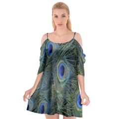 Peacock Feathers Blue Bird Nature Cutout Spaghetti Strap Chiffon Dress