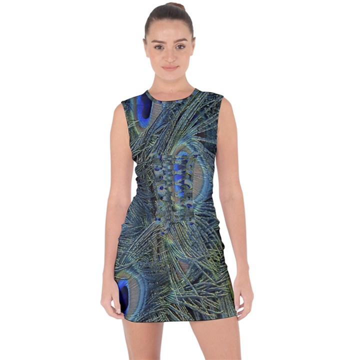 Peacock Feathers Blue Bird Nature Lace Up Front Bodycon Dress