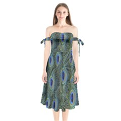 Peacock Feathers Blue Bird Nature Shoulder Tie Bardot Midi Dress