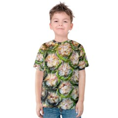 Pineapple Texture Macro Pattern Kids  Cotton Tee