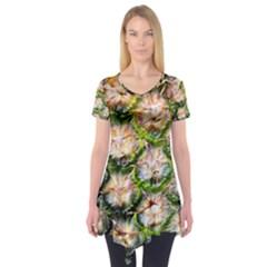 Pineapple Texture Macro Pattern Short Sleeve Tunic