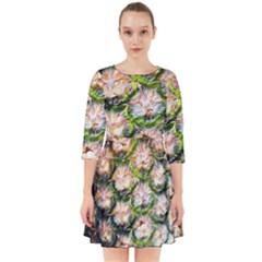 Pineapple Texture Macro Pattern Smock Dress