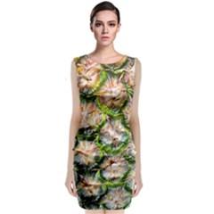 Pineapple Texture Macro Pattern Sleeveless Velvet Midi Dress