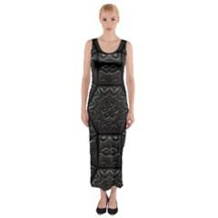 Tile Emboss Luxury Artwork Depth Fitted Maxi Dress