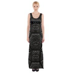 Tile Emboss Luxury Artwork Depth Maxi Thigh Split Dress by Nexatart