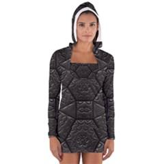 Tile Emboss Luxury Artwork Depth Long Sleeve Hooded T Shirt