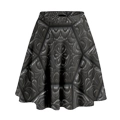 Tile Emboss Luxury Artwork Depth High Waist Skirt by Nexatart