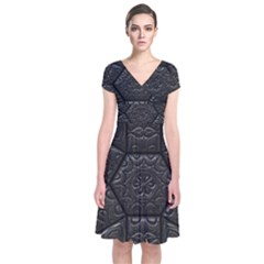 Tile Emboss Luxury Artwork Depth Short Sleeve Front Wrap Dress