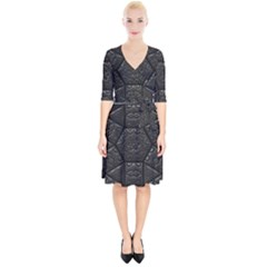 Tile Emboss Luxury Artwork Depth Wrap Up Cocktail Dress