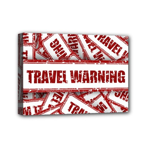 Travel Warning Shield Stamp Mini Canvas 7  X 5
